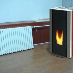 W18 hydro pellet stove with hot water radiator red